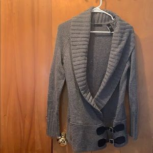 Long, part wool sweeter/cardigan style sweater